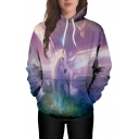 Fancy Horse Floral Print Long Sleeve Loose Hoodie