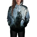 Moon Wolf Pattern Long Sleeve Casual Hoodie