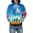 3D Game Players Geometric Print Long Sleeve Hoodie