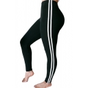 Contrast Striped Side Elastic Waist Skinny Yoga Leggings