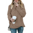 Zipper Front High Collar Long Sleeve Plain Faux Fur Sweatshirt