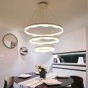 Modern Fashion 1 Light/2 Light/3 Light Suspended Loop LED Chandelier 24/60/108W 3000-6500K Warm White Neutral Light Frosted Small/Large LED Chandelier