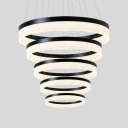Cord Adjustable Led Ambinet Warm White Light 4-Light/5-Light Circular Ring Chandelier Multi Tier Frosted Shade Saturn Pendant Lighting in Black