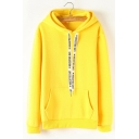 Letter Print Drawstring Hood Long Sleeve Casual Hoodie for Woman