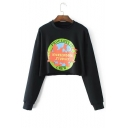 Earth Letter Graphic Print Round Neck Long Sleeve Cropped Sweatshirt