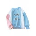 K-POP Letter Color Block Round Neck Long Sleeve Pullover Sweatshirt