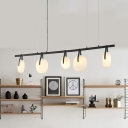 Cafe Bar Counter Chandeliers 2 Light/3 Light/5 Light 40W Frosted Globe LED Chandelier Black Metal LED Linear Hanging Light 4 Designs for Option