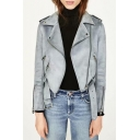 Cool Suede Plain Notched Lapel Collar Long Sleeve Offset Zip Front Cropped Jacket