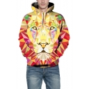 Unisex Drawstring Hood Geometric Lion Pattern Long Sleeve Hoodie