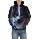 3D Cute Wolf Pattern Drawstring Hood Unisex Hoodie