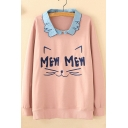 Contrast Lapel Collar MEW Letter Cat Embroidered Long Sleeve Pullover Sweatshirt