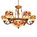 Treasure Flower Pattern Natural Shell Shabby Chic Chandelier with 6/8 Arms and Center Bowl