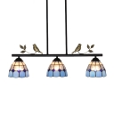 Simple Blue&White Checkered Glass Shade Linear Chandelier for Restaurant Buffet Dining Room 2 Designs for Option