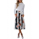 Contrast Floral Print Round Neck Long Sleeve Tie Waist Midi A-Line Dress