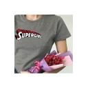 SUPER GIRL Letter Print Round Neck Short Sleeve T-Shirt
