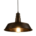 Industrial Barn Pendant Light with 14.17''W Metal Shade, Rust