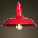 Vintage Industrial Style Single Light Indoor Pendant Lighting in Red/Green Finish