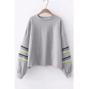 Contrast Striped Patch Round Neck Long Sleeve Loose Sweatshirt