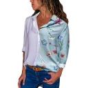 Contrast Floral Print Lapel Collar Button Closure Long Sleeve Shirt