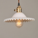 White Industrial Style 1-Light Hanging Mini Pendant Lamp with Scalloped Shade