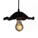 Black Mini Single Light Pendant with Special Floral Shade for Restaurant Cafe