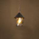 Single Light Source Ceiling Pendant for Restaurant Cafe with Cone Shade, Black