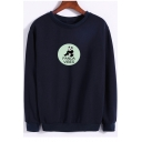 Letter Panda Print Round Neck Long Sleeve Casual Sweatshirt