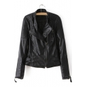 Ribbed Detail Stand Collar Plain Long Sleeve Offset Zipper Leather Jacket