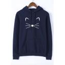 Cute Cat Print Long Sleeve Leisure Hoodie
