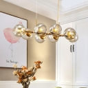 Dining Room Restaurnat Post Modern Decorative LED Linear Pendant Light Gold Finish 8/12 Light Clear Glass Ball LED Chandeliers (37.40
