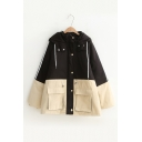 Winter Collection Color Block Long Sleeve Zip Up Hooded Padded Coat