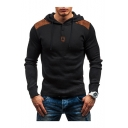 Contrast Patchwork Long Sleeve Button Front Slim Hoodie