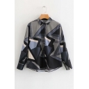 Chic Geometric Lapel Collar Button Front Long Sleeve Shirt