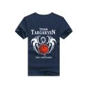 TEAM Letter Dragon Print Round Neck Short Sleeve T-Shirt