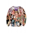 3D Printed Portrait Pattern Crew Neck Long Sleeve Casual Pullover Sweatshirt for Couple
