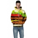 Digital Layerd Hamburger Printed Long Sleeve Leisure Hoodie