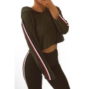 Contrast Striped Trim Patch Long Sleeve Cropped Hoodie with Skinny Pants Co-ords