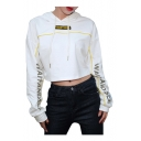 Letter Print Contrast Piping Long Sleeve Cropped Hoodie