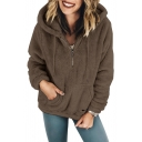 Winter Collection Plain Long Sleeve Faux Fur Half-Zip Hoodie