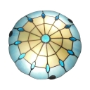 Mediterranean Style Tiffany Light Blue Stained Glass Flush Mount Light 3 Sizes for Option
