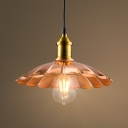 9.84 Inches Width Indoor Hallway Single Light Source Pendant with Scalloped Shade