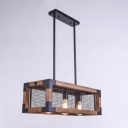 23.62'' Long Industrial Style 3 Light LED Chandelier with Wood Iron Shade