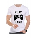 PLAY HARD Letter Game Remote Print Round Neck Short Sleeve T-Shirt