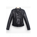 Chic Lapel Collar Long Sleeve Plain Offset Zipper Slim Leather Jacket