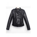 Chic Lapel Collar Long Sleeve Plain Offset Zipper Slim Leather Jacket