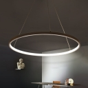 Ultra-thin Multi Light Pendant Aluminum 20/30/35W Ambinet Warm White Light 1 Light/2 Light/3 Light Halo Chandelier in Brown for Restaurant Buffet Dining Room