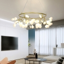 Heracleum II LED Chandelier 4 Sizes Available 1 Light Glass Flower LED Pendant Light for Bedroom Living Room Restaurant Hallway