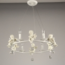 Nordic Style Best Lighting for Kids Room White 3/6/8 Light Angel Chandeliers with Clear Crystal Drops Decoration (21.65