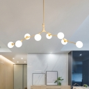 Multi Designs Ultra Modern Branch Led Chandeliers 5 Light-14 Light Cream Glass Sphere LED Chandelier in Gold for Cafe Restaurant Bar Buffet