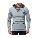 Offset Half-Zip Front Slim Long Sleeve Casual Hoodie for Men